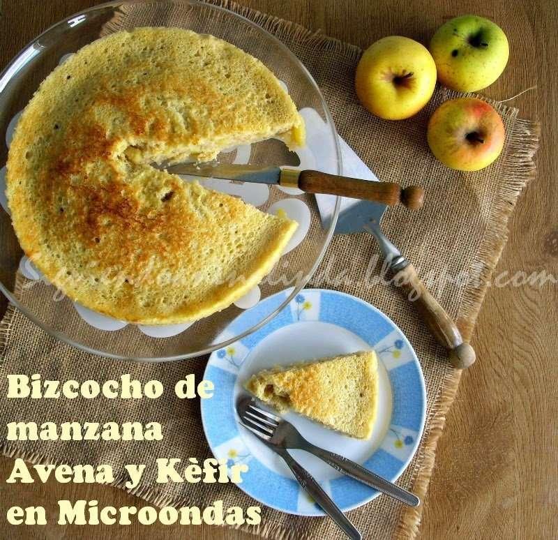 Bizcocho de Manzana, Avena y Kéfir en Microondas