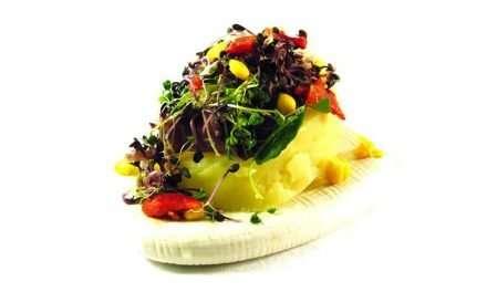 Receta de Ensalada de patatas, berros y bacalao ahumado con salsa de Kefir
