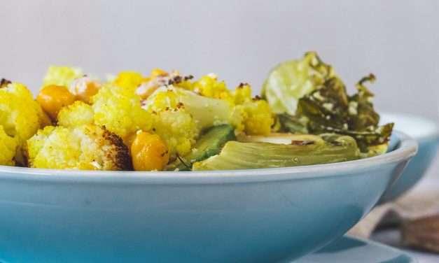Ensalada de coliflor y guisantes con Kéfir