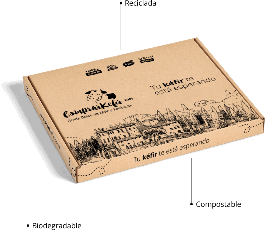 Cajas sostenibles, recicladas y biodegradables de Kéfir - Comprarkefir.com