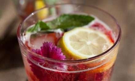 Cóctel sin alcohol de Kombucha con frambuesa, menta y limón